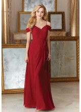 Morilee Chiffon Bridesmaid Dress with Draped Off the Shoulder Cap Sleeves