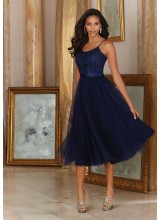 Morilee Beautiful Tulle with Embroidery and Satin Waistband Bridesmaid Dress