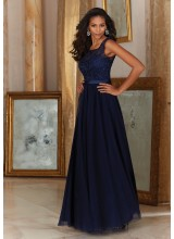 Morilee Stunning Tulle with Embroidery and Satin Waistband Bridesmaid Dress
