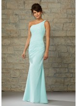 Full Length Luxe Chiffon One Shoulder Morilee Bridesmaid Dress with Draping