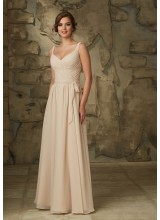 Romantically Draped Luxe Chiffon Morilee Bridesmaid Dress with V-Neck and V-Back