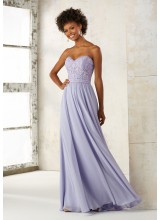 Chiffon Bridesmaid Dress with Embroidery and Beading