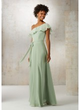 Chiffon Bridesmaids Dress with Matching Tie Sash