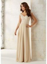 Chiffon Bridesmaids Dress with Embroidery and Beading