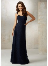 Lace A-Line Bridesmaids Dress with Satin Waistband