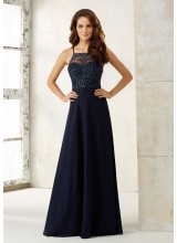 Chiffon A-Line Bridesmaids Dress with Beaded Bodice