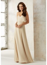 Chiffon A-Line Bridesmaids Dress with Beading and Criss Cross Back
