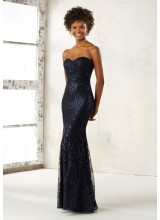 Fitted Bridesmaids Dress with Pattern Sequins on Mesh