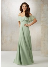 Chiffon Bridesmaids Dress with Off-the-Shoulder Ruffle Detail