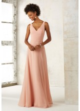 Sleeveless Chiffon Bridesmaids Dress with V-neck