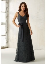 Lace Bridesmaids Dress with Matching Tie Sash