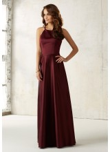 Satin Bridesmaids Dress with Matching Satin Waistband