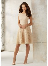 Knee Length Lace Bridesmaids Dress