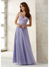 Tulle Bridesmaids Dress with Embroidery and Beading on Bodice