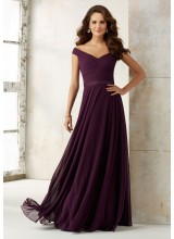 Chiffon Bridesmaids Dress with Off-the-Shoulder Neckline