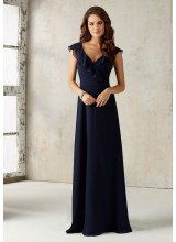 Chiffon Bridesmaids Dress with V-neck and Ruffle Neckline