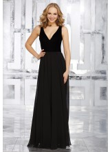 Stretch Velvet and Chiffon Bridesmaids Dress with V-Neckline