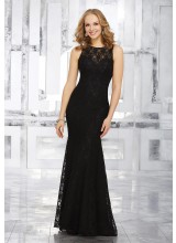 Fitted Lace Bridesmaids Dress with Jewel Neckline and Open Back