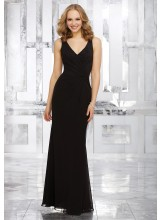 Chiffon Bridesmaids Dress with V-Neckine and Open V-Back
