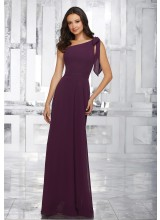 One Shoulder Chiffon Bridesmaids Dress with Removable Shoulder Bow