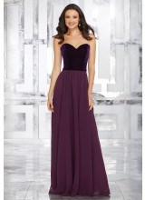 Stretch Velvet and Chiffon Bridesmaids Dress with Sweetheart Neckline