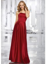 Strapless Satin Bridesmaids Dress with Beaded Pocket Detail