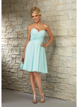 Sweetheart Chiffon Morilee Bridesmaid Dress with Flower Detail