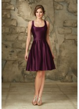 Classic Satin Morilee Bridesmaid Dress with V Back and Bow Detail