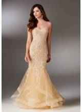 Beaded Lace Evening Gown with Sweetheart Neckline