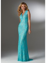 Stretch Lace Evening Gown with Beading and V-Neckline