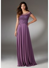 Chiffon Social Occasion Gown with Beaded and Embroidered Bodice