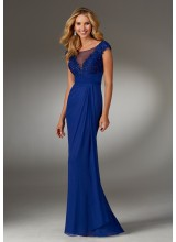 Beaded Lace Special Occasion Gown with Stretch Mesh Illusion Neckline