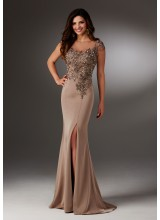 Silky Crepe Evening Gown with Beading and Illusion Neckline