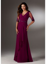 Chiffon Evening Gown with Beaded Net Sleeves