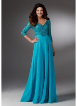 Chiffon Social Occasion Gown with Beaded Bodice