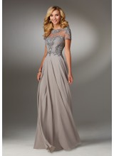 Chiffon Special Occasion Dress with Beaded Embroidery on Bodice