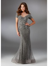 Net and Lace Evening Gown with Intricate Embroidery and Beading