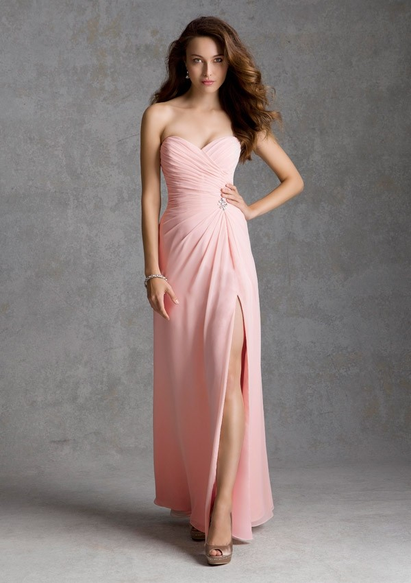 f063af2762a Long Chiffon Morilee Bridesmaid Dress with Side Slit and Beaded Brooch  Detail